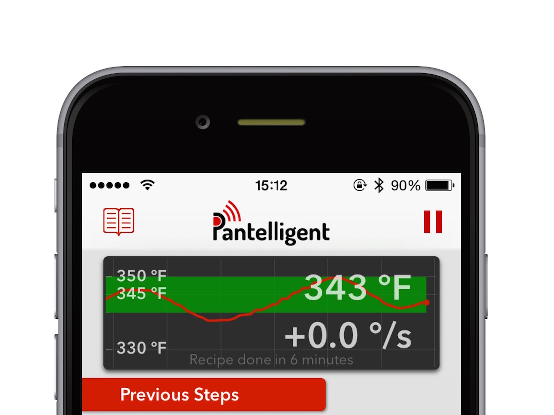 Screenshot of Pantelligent app, focused on live temperature data.